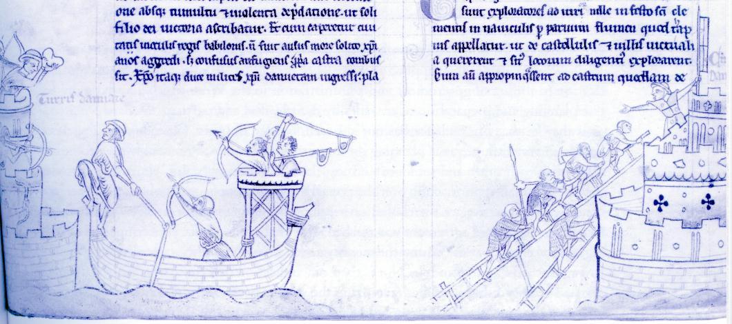 Asalto a Damietta por el Rey San Luis y Gilles de Trazegnies le Brun.jpg