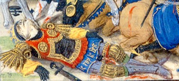 Manuscrito Lord Devonshire: Gillion cae herido de muerte en batalla.jpg