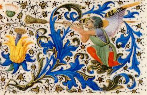 Manuscrito Lord Devonshire: detalle angel con trompeta en orla.jpg