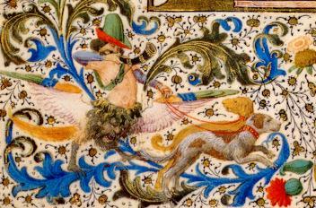 Manuscrito Lord Devonshire: detalle corno y perros de caza.jpg