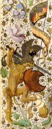 Manuscrito Lord Devonshire: detalle del diablo guerrero en la orla.jpg