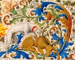 Manuscrito Lord Devonshire: detalle del perro que captura al ciervo en la orla.jpg